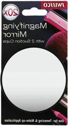 Swissco suction cup mirror. 20x magnification, 3 1/2'' diame