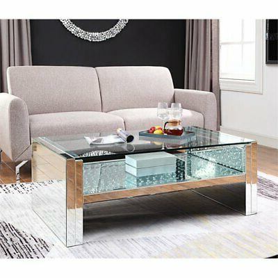 Acme Nysa Coffee Table in and Faux Crystals