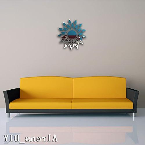 Alrens_DIY Sun Mirror Stickers Home Decal Murals Wall Paper adesivo parede Gift--Silver