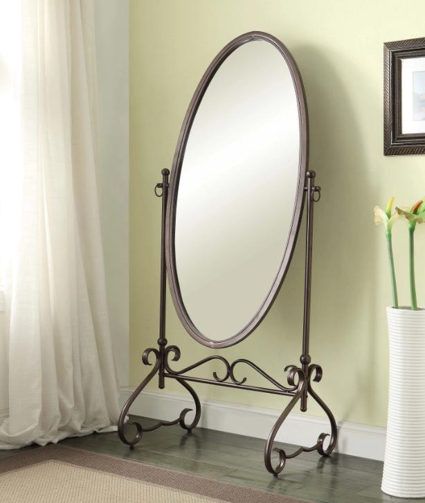 Antique Metal Cheval Mirror Oval Large Full Length Freestand
