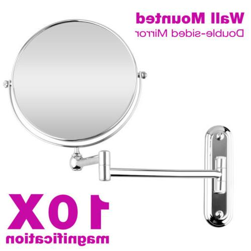 "8"" Wall Mounted Mirror Extending Folding Double Side 10x Mag"
