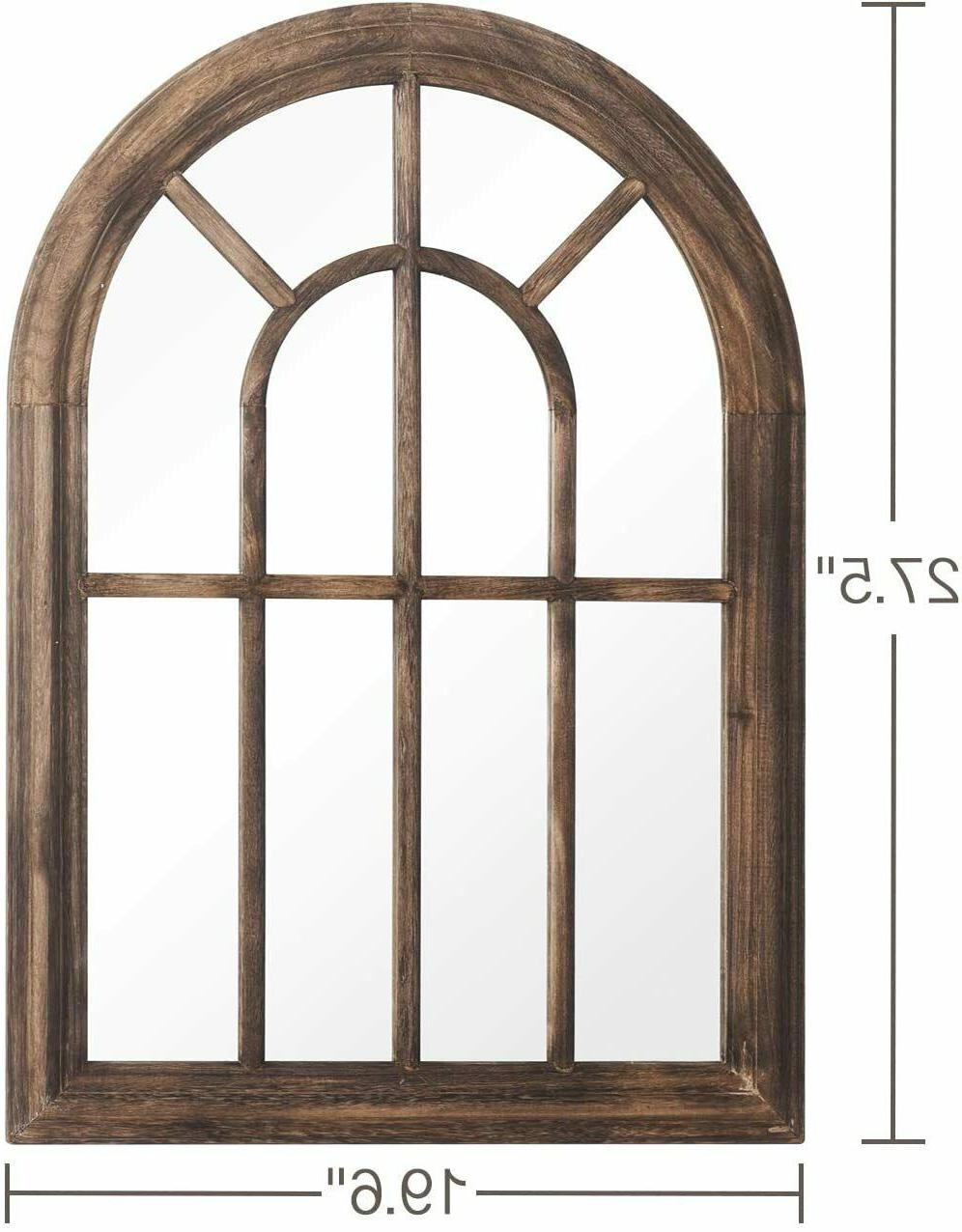 Brown Torched Wall Hanging Mirror Wood Arched Decor