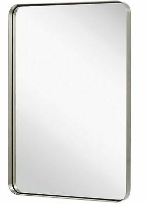 contemporary brushed metal wall mirror glass panel