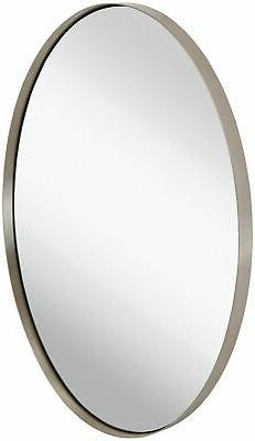 Hamilton Hills Contemporary Brushed Metal Wall Mirror | Oval