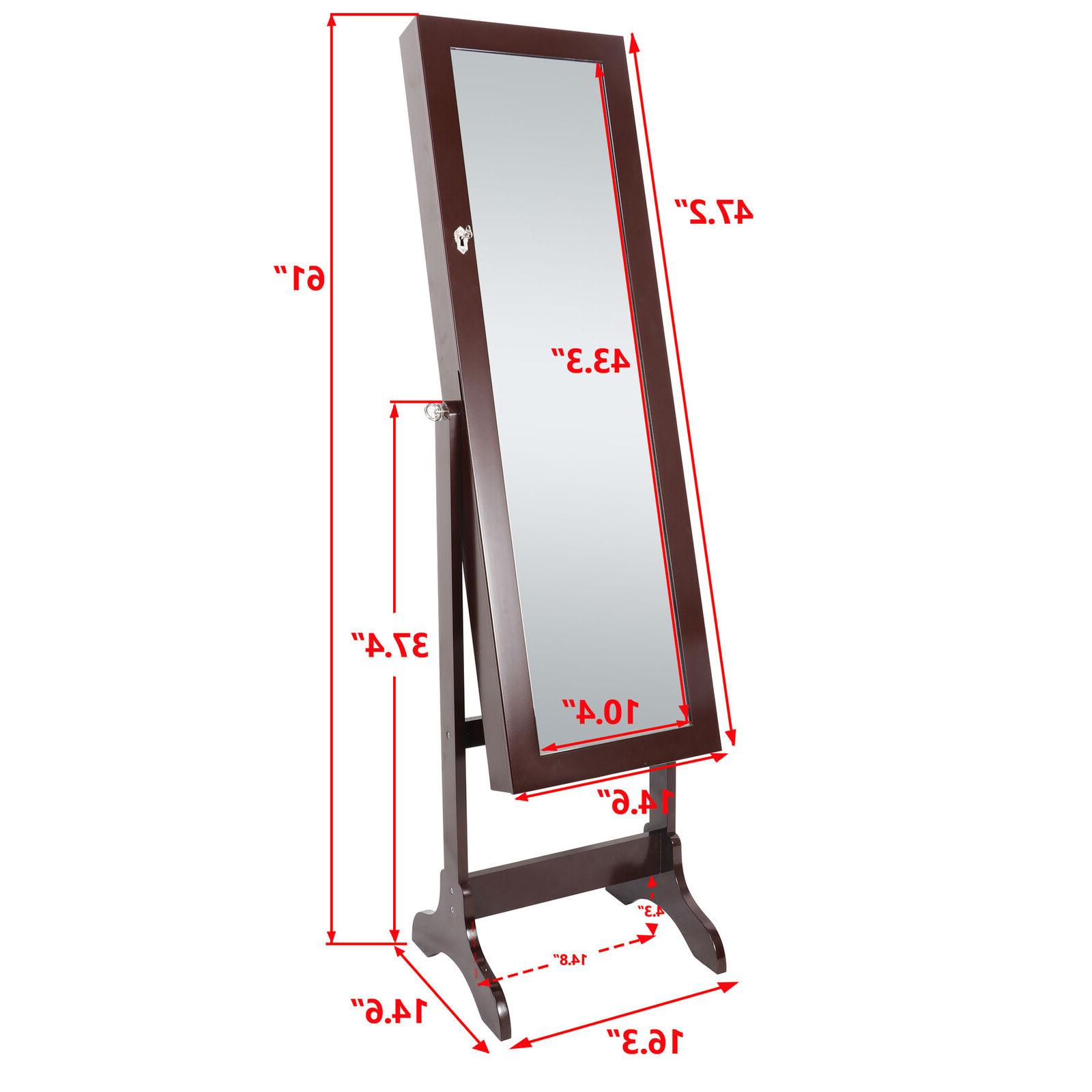 free standing full length mirror jewelry cabinet