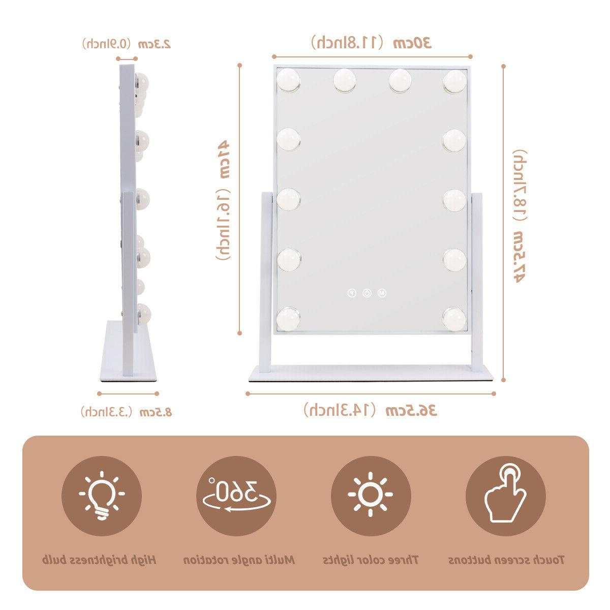 FENCHILIN Mirror with LED Lighted Tabletop, White
