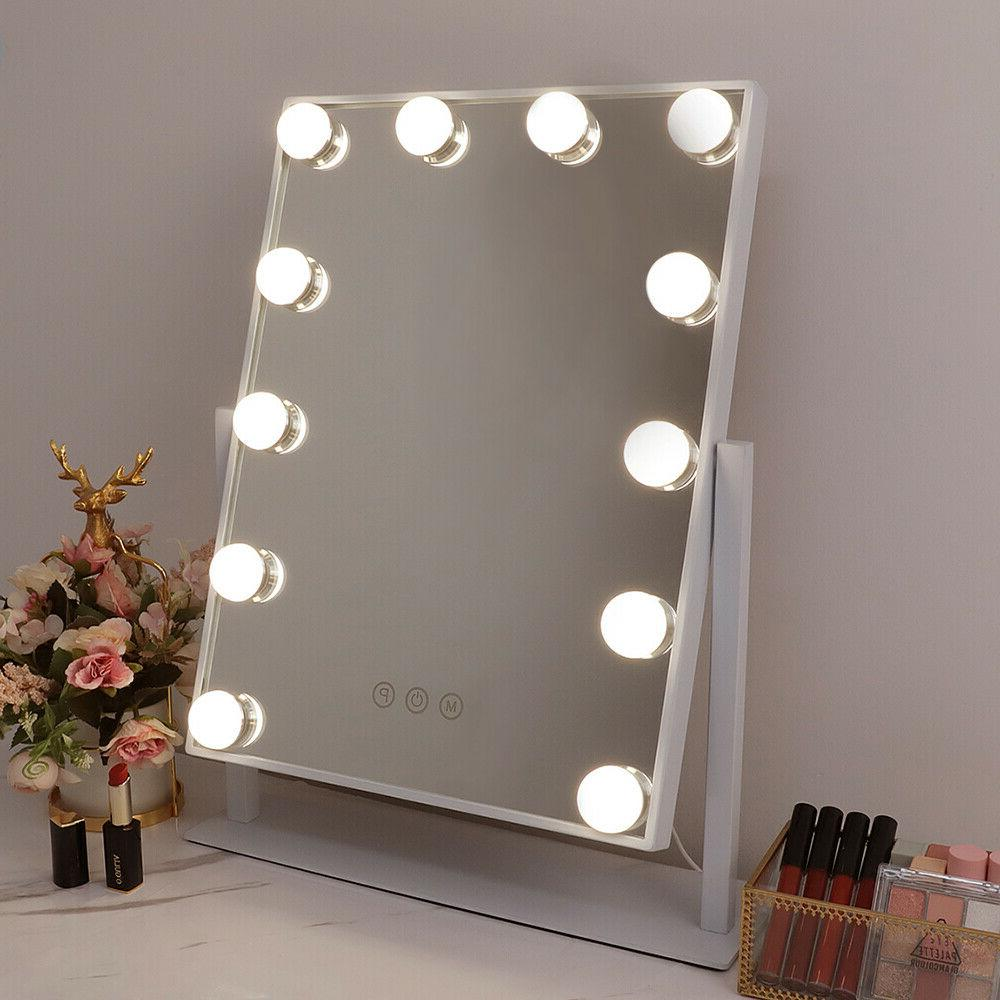 FENCHILIN Mirror with Lighted Tabletop, White