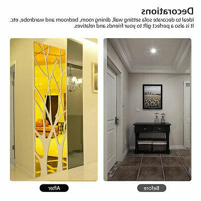 3D Mirror Tree Art Removable Wall Sticker Decor