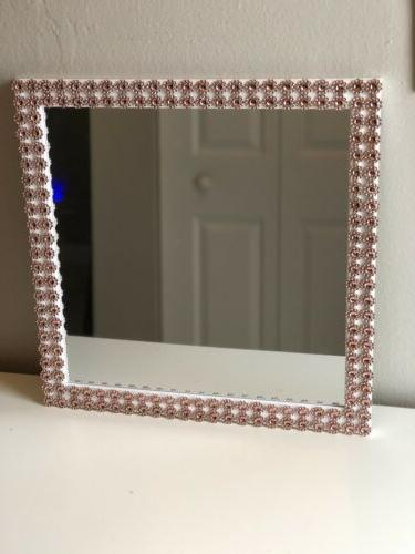 Rose Gold And White Frame Mirror