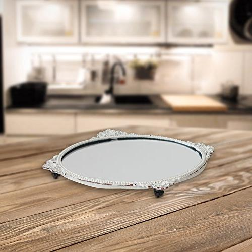 Stonebriar Decorative Oval White Vintage Home Living Kitchen, or Decor, For Table