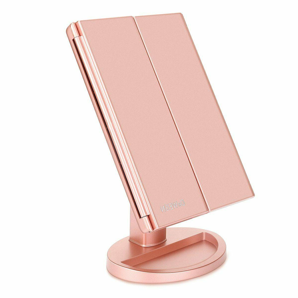tri fold vanity mirror with 21 led
