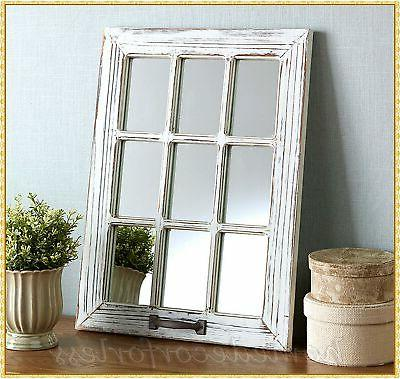white distressed wood windowpane mirror rustic country