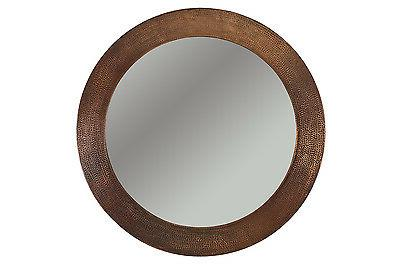 34 H x 34 W Hand Hammered Round Copper Mirror, Wall, Round,