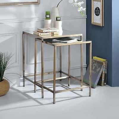 yumia antique brass nesting table