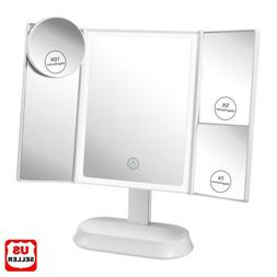 Led Lighted Mirror w/ Magnifying Portable Vanity Makeup Comp