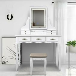 LED Vanity Table set with Lighted Touch Screen Mirror and Cu