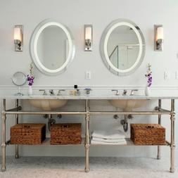 LED Wall Mounted Bathroom Mirror with Dimmable Touch Dimmer