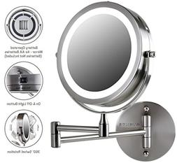 1x /10x Lighted Makeup Mirror Wall Mount Swivel Magnifying C