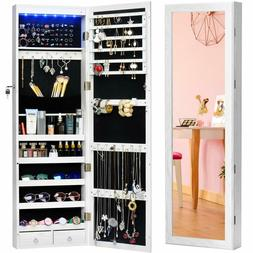 Lockable Door Wall Mounted Jewelry FullSize Mirrored Armoire