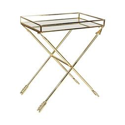 Kate and Laurel Madeira Arrow Metal Accent Table with Mirror