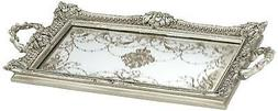 """Margeaux 23 1/4"""" Antique Nickel and Mirrored Decorative Tray"""
