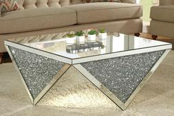 MIRRORED COFFEE TABLE CRYSTALS MODERN LIVING ROOM SPARKLE 82