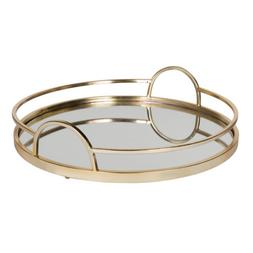 Kate and Laurel Naples Gold Metal Mirrored Round Decorative