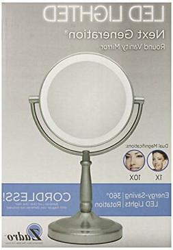 """NEW Zadro 5.75"""" Dual-Sided LED Lighted Magnifying Vanity Mir"""