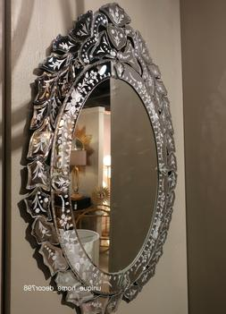 New Oval Venetian Style Glass Wall Mirror w/ Antique Style E
