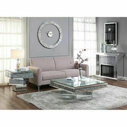 ACME Furniture Noralie End Table in Mirrored and Faux Diamon