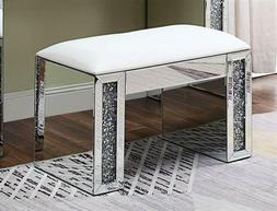 ACME Furniture Noralie Vanity Stool PU, Mirrored and Faux Di