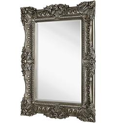 Large Ornate Antique Silver Pewter Baroque Frame Mirror | Ag