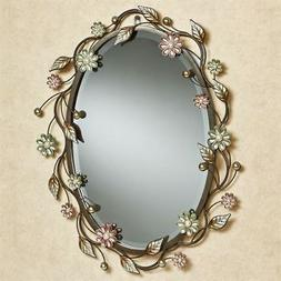 Oval Flower Metal Wall Mirror Wall Decor Pearl Accents