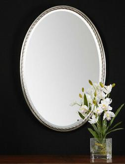 """Oval Wall Mirror 32"""" Brushed Nickel Twisted Metal Frame Va"""