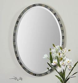 """PAREDES 29""""  ANTIQUED MIRROR FRAME OVAL BEVELED WALL VANITY"""