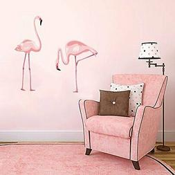 DecalMile Pink Flamingo Wall Stickers Peel and Stick Wall De