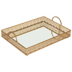 Rectangular MIRROR SERVING TRAY Vintage Metal Vanity Food Pl