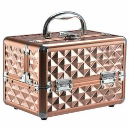 Beauty Cosmetic Makeup Case Organizer With Mirror & Extendab