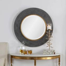 Round Wall Mirror Black Gold Rimmed 30D Solid Wood Bevelled
