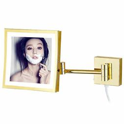 GURUN Square 3X Magnifying Vanity 50 LED Lighted Wall Mounte