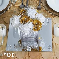 """Efavormart 10"""" Square Glass Mirror Wedding Party Table Decor"""