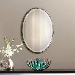 """Textured Metal Polished Silver Nickel Oval Wall Mirror 28"""""""