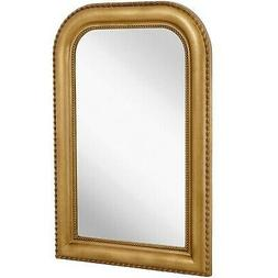 Hamilton Hills Thick Rounded Top Gold Rich Framed Wall Mirro