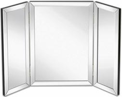 Hamilton Hills Trifold Vanity Mirror | Solid Hinged Sided Tr