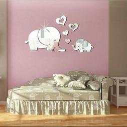 US Elephant Mirror Wall Sticker DIY Removable Art Kids Room