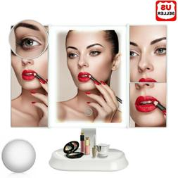 Vanity LED Trifold Lighted Makeup Mirror 10X Magnifying Dimm
