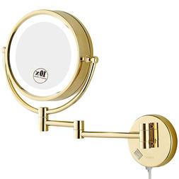 GURUN Vanity Lighted Wall Mount Gold Makeup Mirror with 5X/7