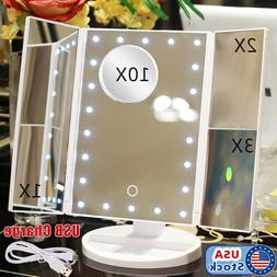 Vanity Makeup Mirror Trifold 22 LED Lighted Touch Screen 1x