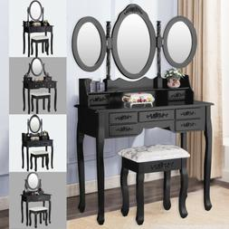 Vanity Makeup Table Dressing Table Set Desk w/ Mirrors & Sto
