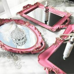 Vintage Home Decor Mirror Plastic Round Pink Skin Care Produ